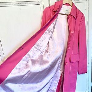 EUC. BANANA REPUBLIC hot pink cotton  trench coat